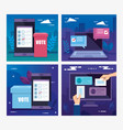 set poster vote with icons vector image vector image