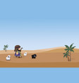 shepherd with sheeps on a background of desert and vector image vector image