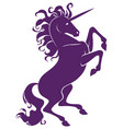 silhouette of beautiful prance unicorn vector image