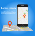 smartphone with mobile navigation app on screen vector image