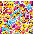 smiley faces sticker emoji love seamless pattern vector image