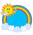 sun with icecream in rainbow circle vector image vector image