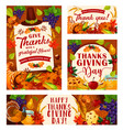 thanksgiving day posters vector image vector image