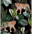 tiger dark jungle pattern vector image vector image
