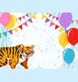 tiger on party template vector image vector image