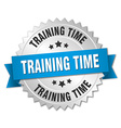 training time 3d silver badge with blue ribbon vector image vector image