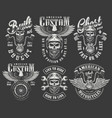 vintage monochrome motorcycle labels set vector image