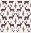 winter rustic tree and reindeer lino cut texture vector image