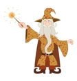 Wizard casting spell with magic wand vector image vector image