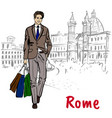 woman walking in rome vector image vector image