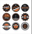 vintage labels black and orange set 1 vector image