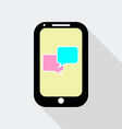 Flat Design Mobile Phone with Speech Bubble Icon vector image