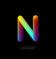 3d iridescent gradient letter n vector image vector image