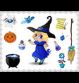 blue halloween cartoon set of objects for witches vector image vector image