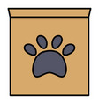 box carton with paw print pet mark vector image