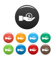 bribery money coin icons set color vector image