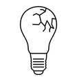 broken bulb icon outline style vector image vector image