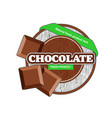 brown chocolate plate circle with bars green tape vector image vector image