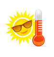 cheerful smiling cartoon sun in sunglasses next vector image