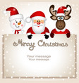 christmas card funny postcard with snowman vector image vector image