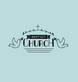 church logo with hand lettering and cross and vector image vector image