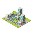 city mall urban isometric landscape with big vector image