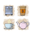 coffee collection cartoons vector image