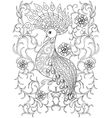 Coloring page with Bird in flowers zentangle vector image