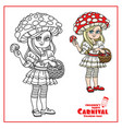 cute girl in fly agaric costume with a red hat vector image vector image