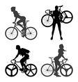 Cyclists Woman and fixed gear bicycle vector image vector image