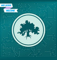 decorative green simple tree icon on a background vector image