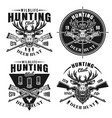 deer hunt set four hunting club emblems vector image vector image