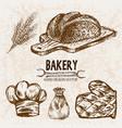 digital detailed line art bakery vector image vector image