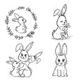 doodle small rabbits vector image vector image