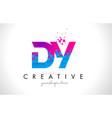 dy d y letter logo with shattered broken blue vector image vector image