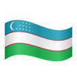 flag of uzbekistan waving on white background vector image