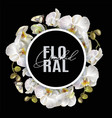 floral orchid round banner vector image vector image
