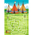 Game template with teepee and indians vector image vector image
