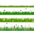 grass and flowers horizontal seamless pattern vector image