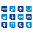 greece icons on stickers vector image vector image