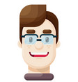 happy young man wearing eyeglasses icon vector image vector image