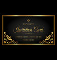 invitation card exclusive black and gold style vector image vector image