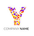 letter y logo with purple yellow red particles vector image vector image