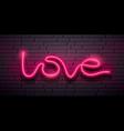 love message neon iight pink design on block wall vector image vector image