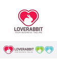 love rabbit logo design vector image