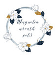 magnolia wreath in deep blue and bronze colors vector image vector image