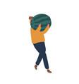 man carrying watermelon flat vector image