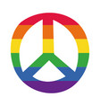 peace symbol with gay pride flag hand draw style vector image vector image