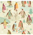 penguins Christmas pattern vector image vector image