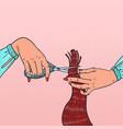 pop art female hairdressers hands cutting hair vector image